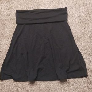 Black skirt with rolled waistband